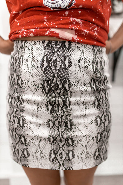 Tell Me Something Snakeskin Skirt