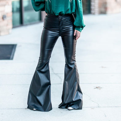 Zena Faux Leather Flares
