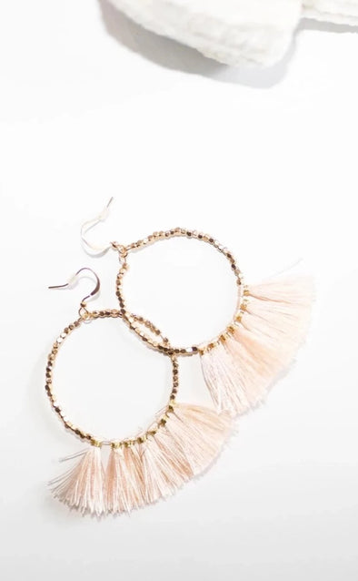 Bead Circle & Tassel Earrings - Blush