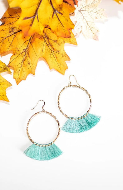 Bead Circle & Tassel Earrings - Aqua