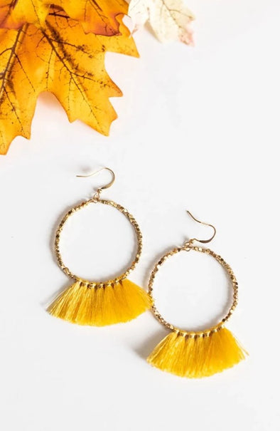 Bead Circle & Tassel Earrings - Marigold