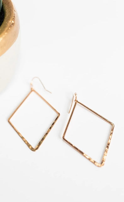 Diamond Dangle Earrings - Rose Gold
