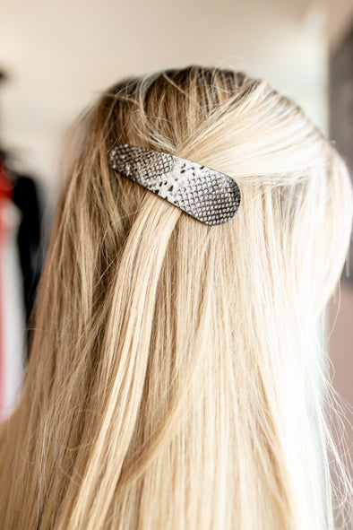 Snake Skin Hair Pin - White