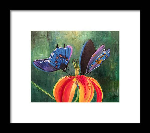 Butterfly Visits - Framed Print