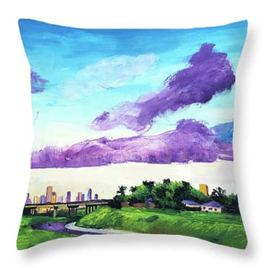 Disrupted Serenity Little White Oak Bayou - Throw Pillow