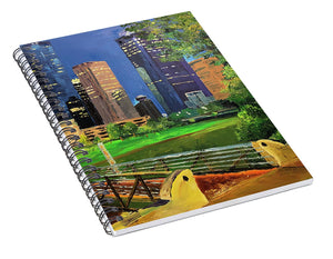 Footbridge at Buffalo Bayou - Spiral Notebook
