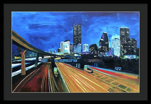 Houston Night Moves - Framed Print