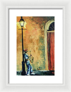 Sax In The City - Framed Print