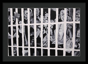 Some of the 210 demonstrators jailed wave from their cell 1964 - Framed Print