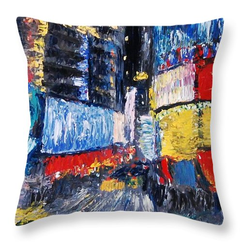 Times Square Abstracted - Throw Pillow