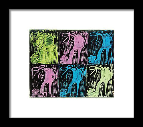 Untitled Shoe Print in Purple Green Blue and Pink - Framed Print