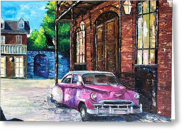 Voiture dans les Quartiers Car in the Quarters - Greeting Card