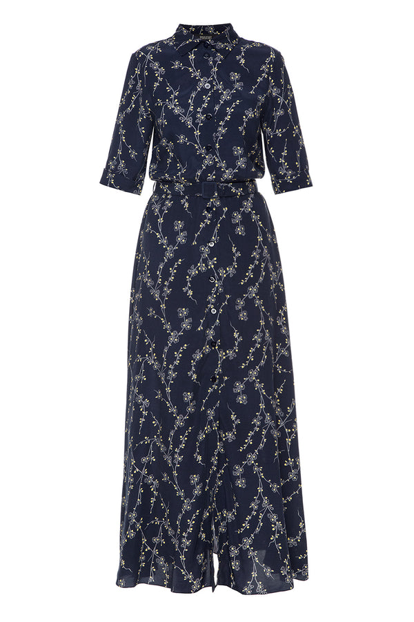 Navy blue floral printed shirt dress