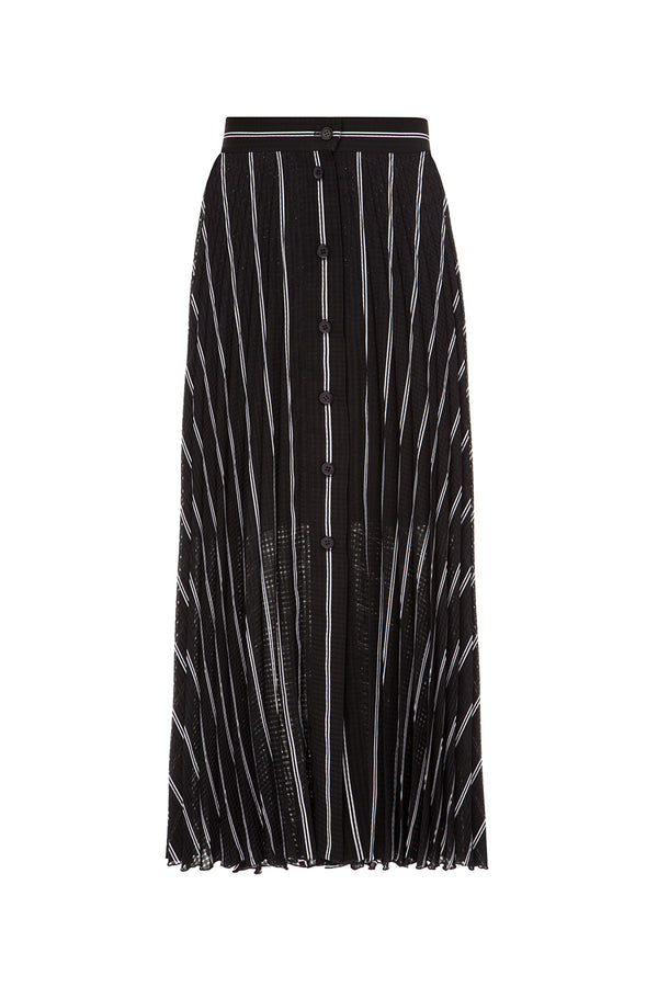 Black pleated striped skirt