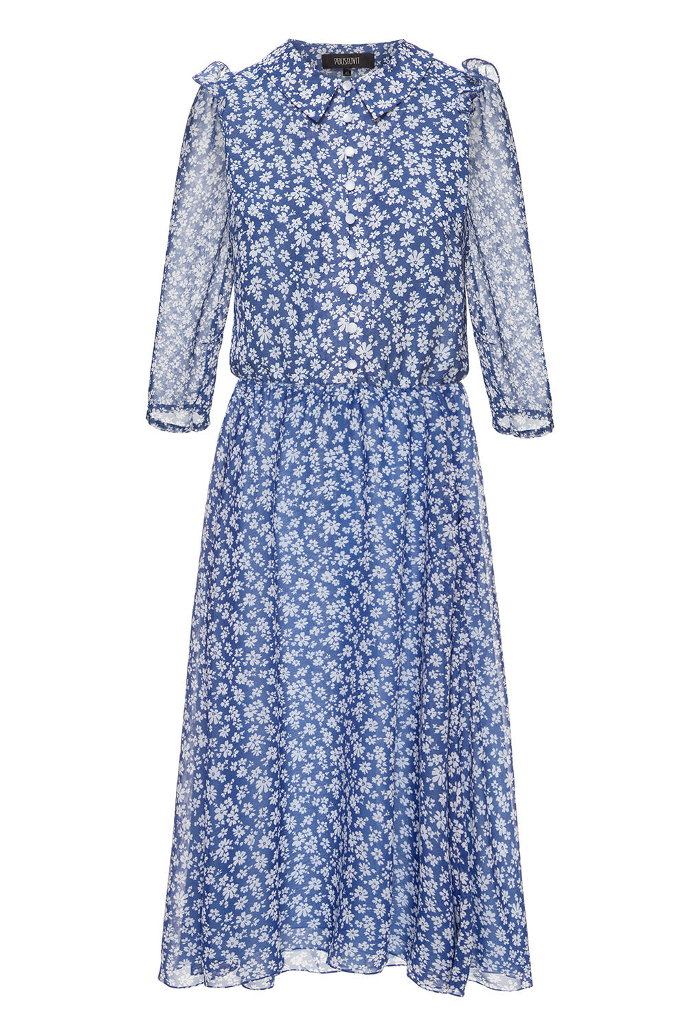 Blue chiffon printed dress