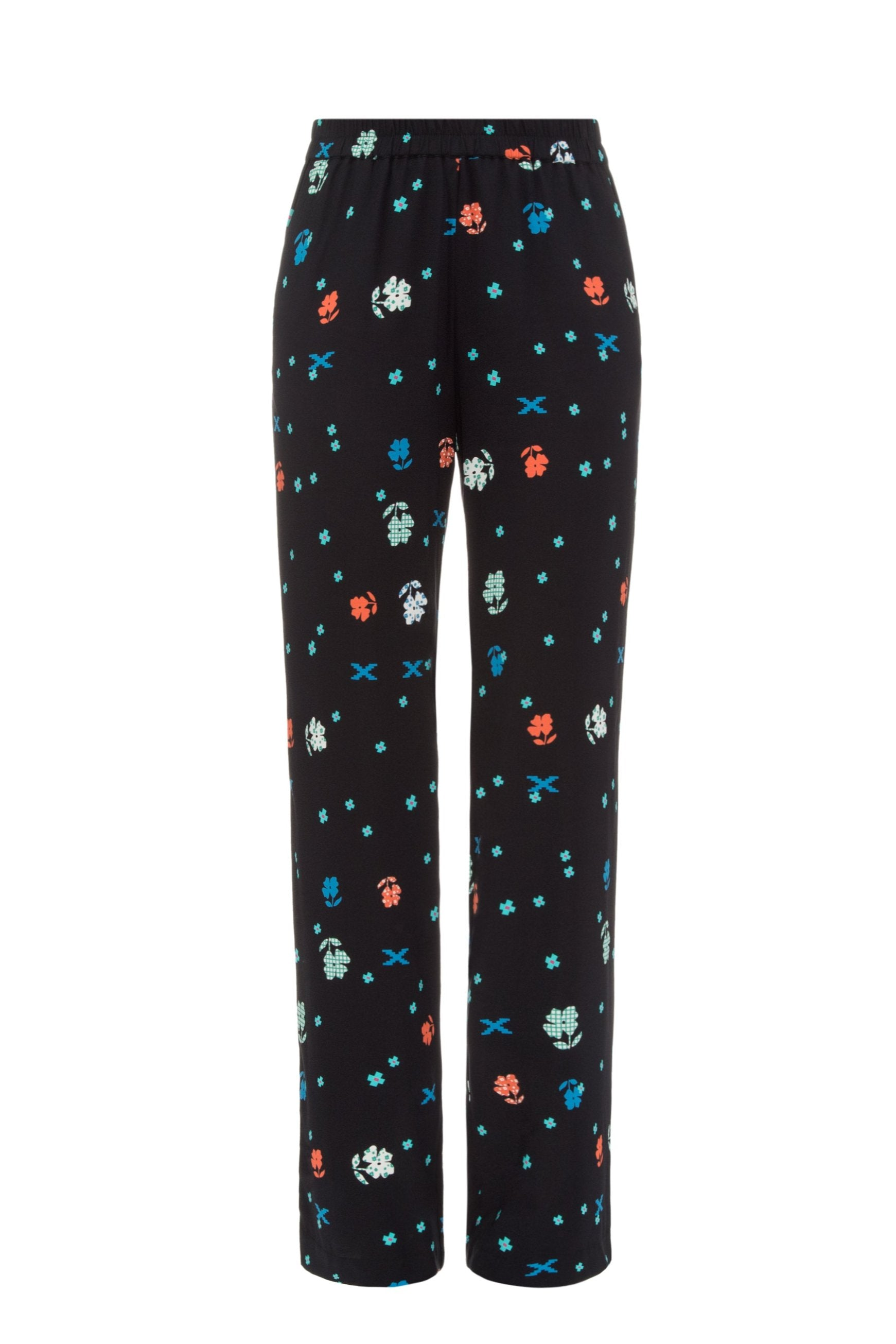 Black printed pants on elastic band
