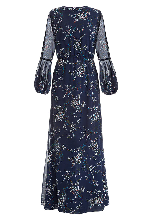 Dark blue printed dress