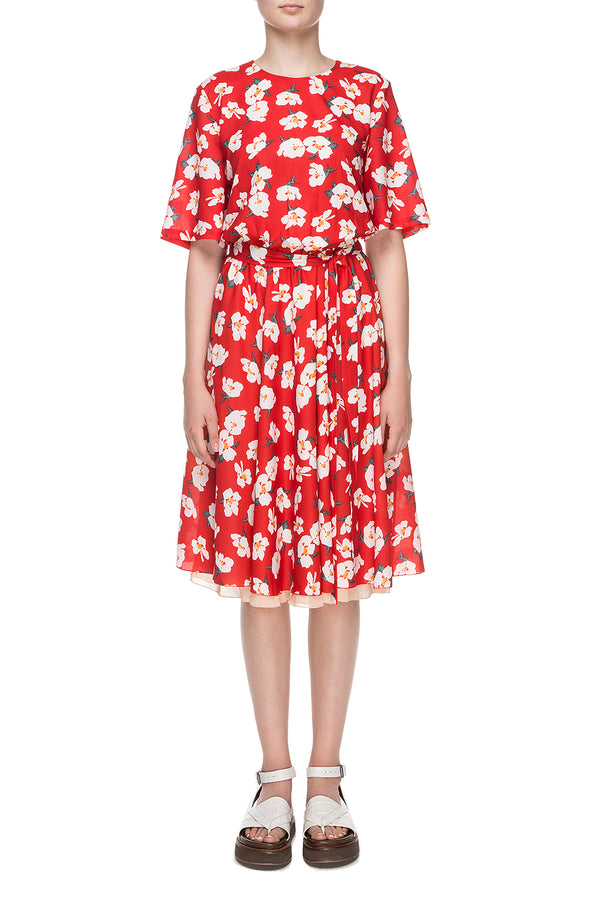 Red flower printed chiffon dress