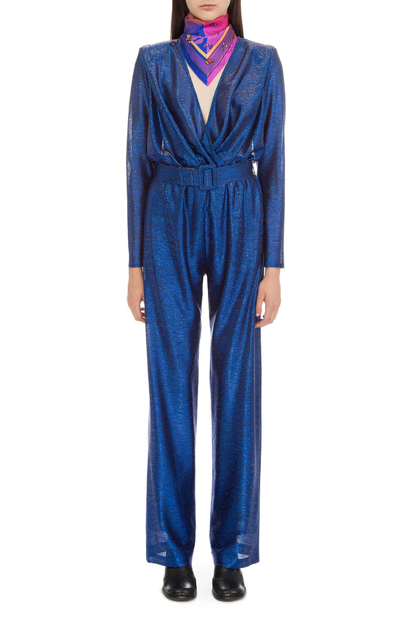Blue wrap around jumpsuit