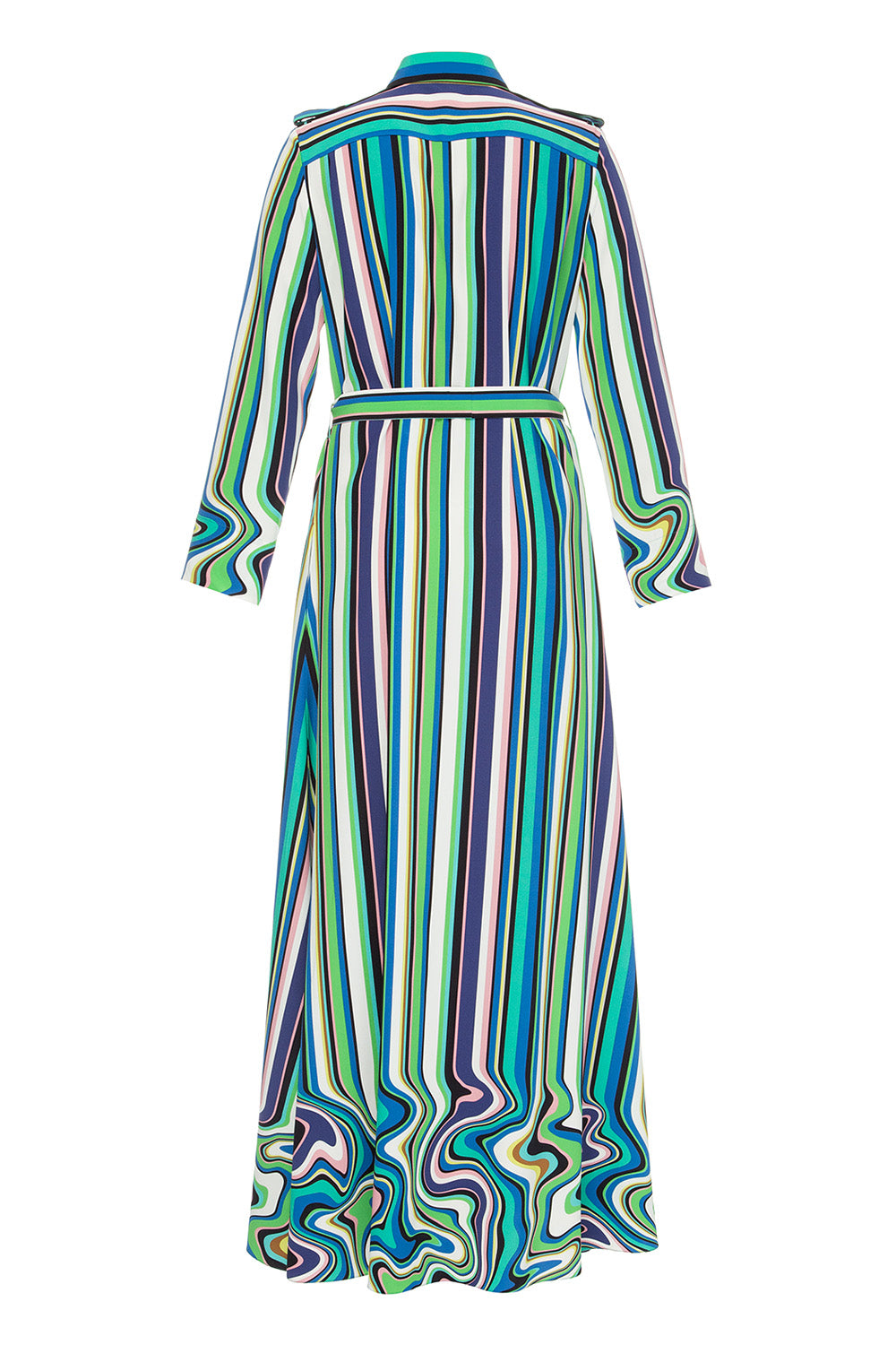 Printed striped maxi dress