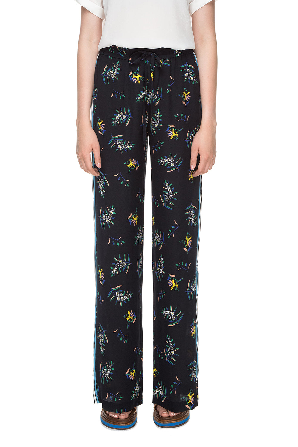 Black floral printed silk pants