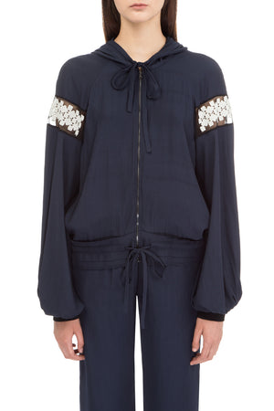 Dark blue hooded bomber