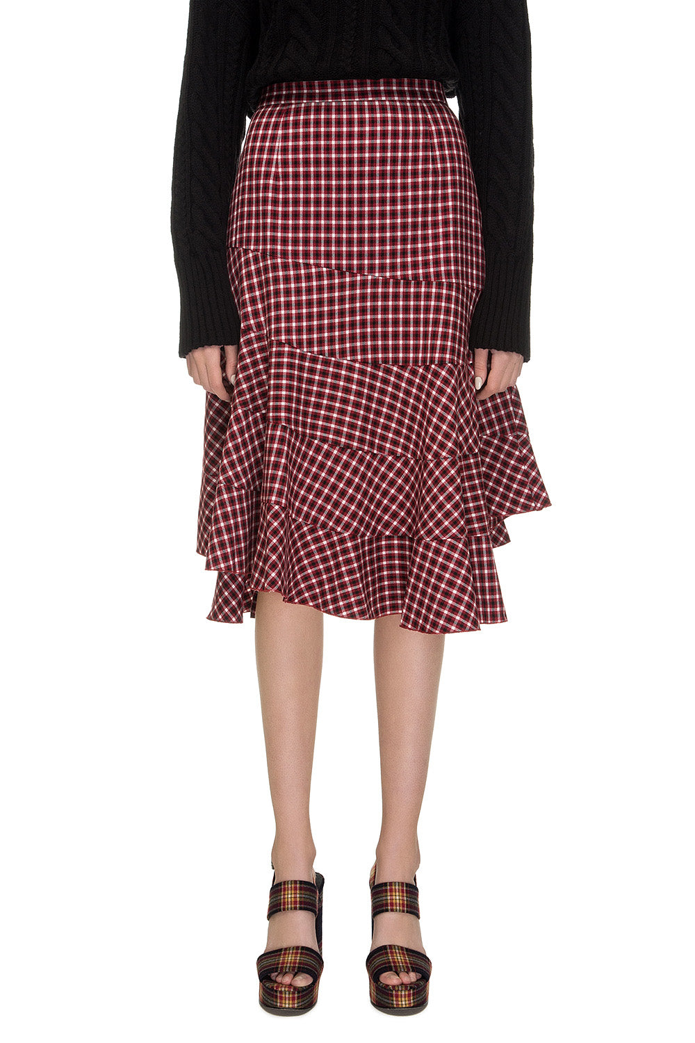 Red checkered skirt