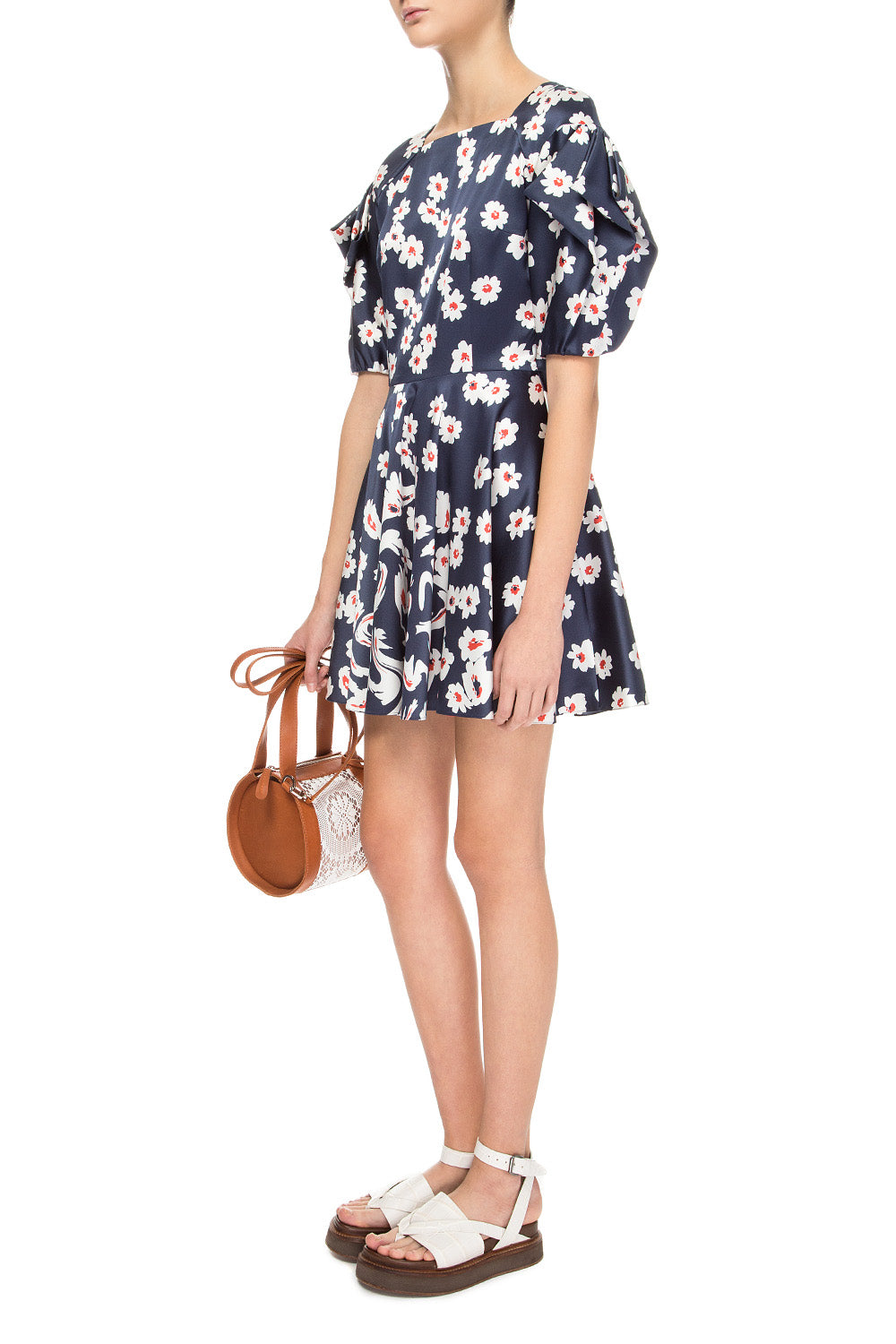 Blue mini printed dress