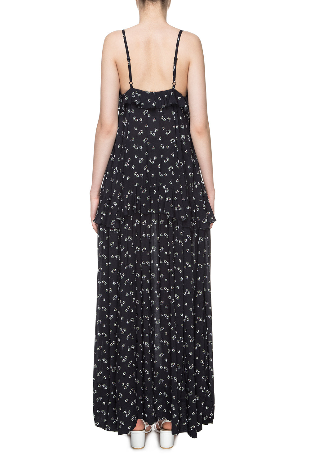 Black floral printed sundress