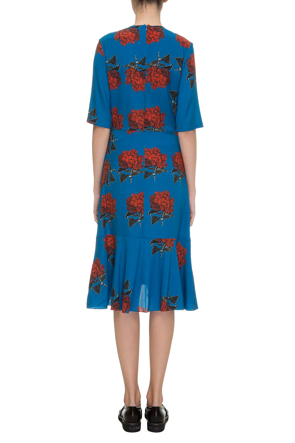 Blue printed silk dress