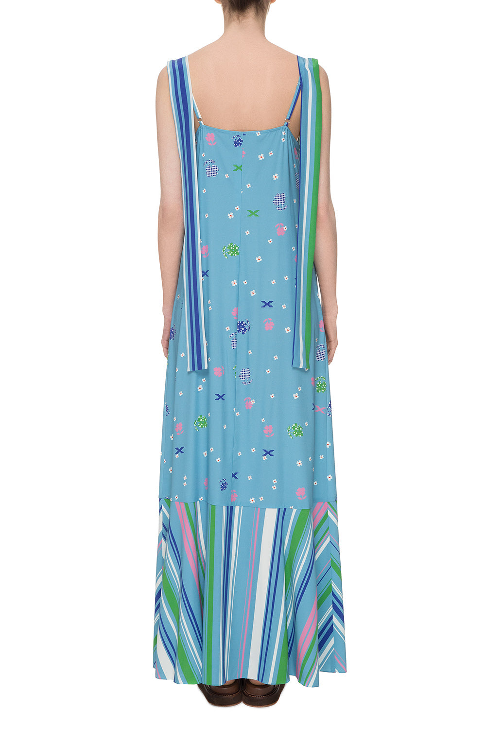 Blue printed silk sundress
