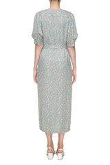 Gray printed midi dress