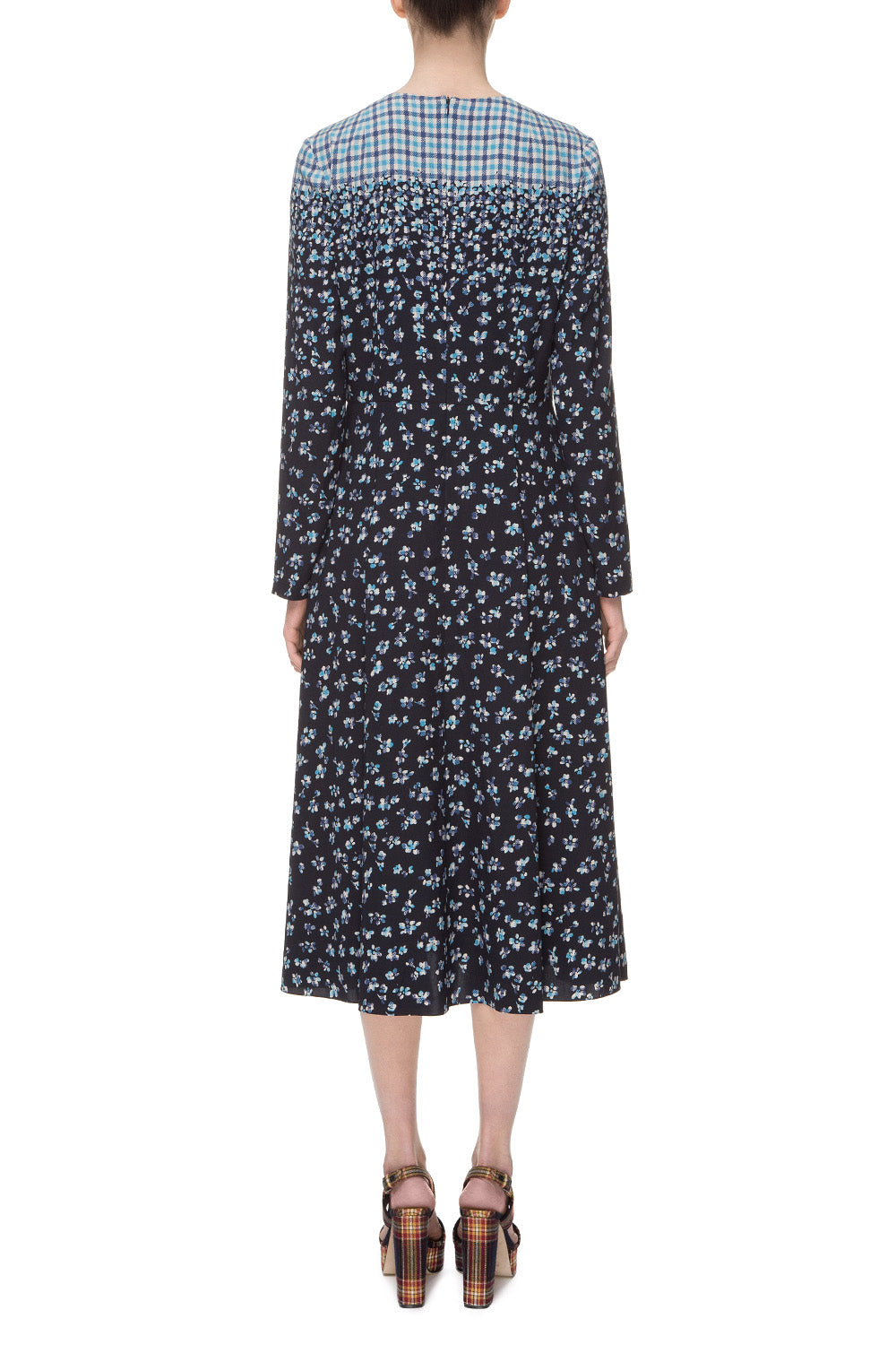 Dark blue printed silk dress