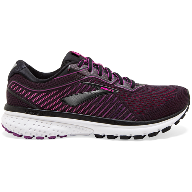 Brooks Women's Ghost 12, Black/Hollyhock/Pink, 12mm Drop, Running Road Moderate Cushion