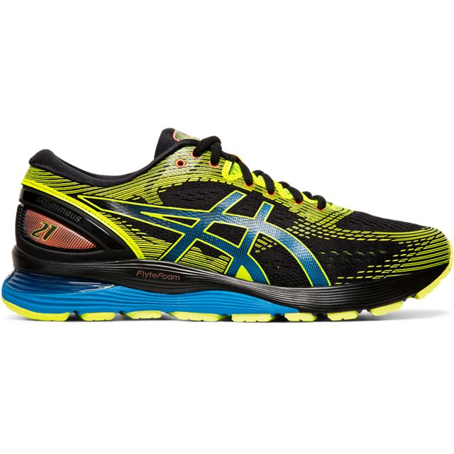 Asics Men's Nimbus 21, Black/Yellow, 10mm Drop, Running Neutral Road High Cushion