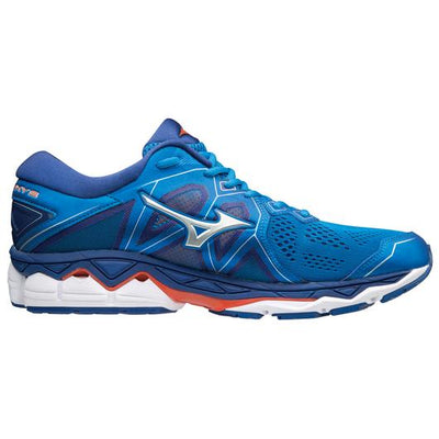 Mizuno Men's Sky 2, Directoire Blue/ Cherry Tomato, 10mm Drop, Running Neutral Road High Cushion
