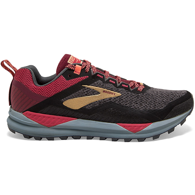 Brooks Women's Cascadia 14, Black/Red/Coral, 8mm Drop, Running Neutral Trail