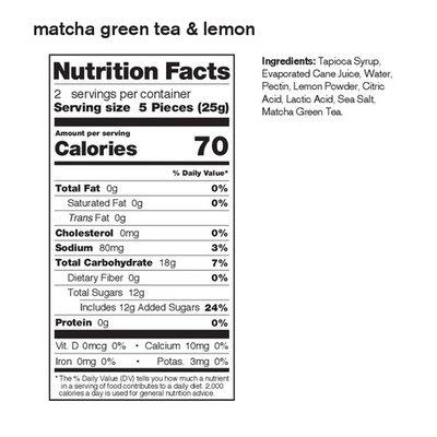 Skratch Fruit Chews 50g Matcha Green Tea and Lemon