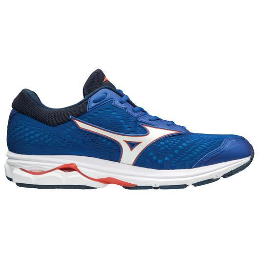 Mizuno Men's Rider 22 Knit Wide, Nautical Blue-Cherry Tomato, 12mm Drop, Running Neutral Wide Road Moderated Cushion