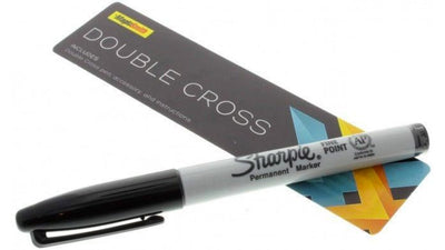 Double Cross Sharpie Marker sitting on the packaging insert with title