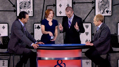 Caleb performing this trick with Allison on Penn & Teller Fool Us with Penn and Teller watching