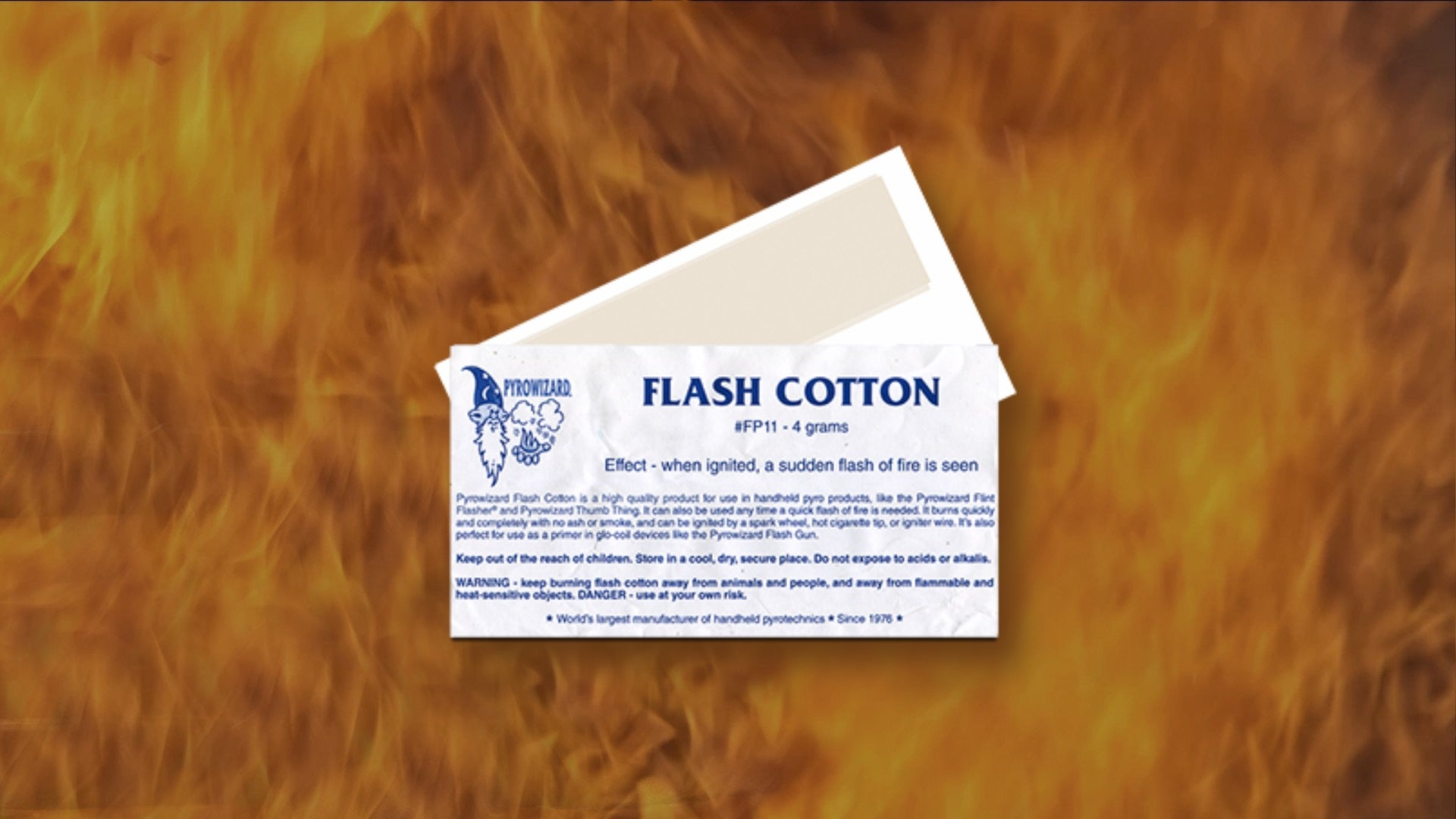Package of Flash Cotton with fire background