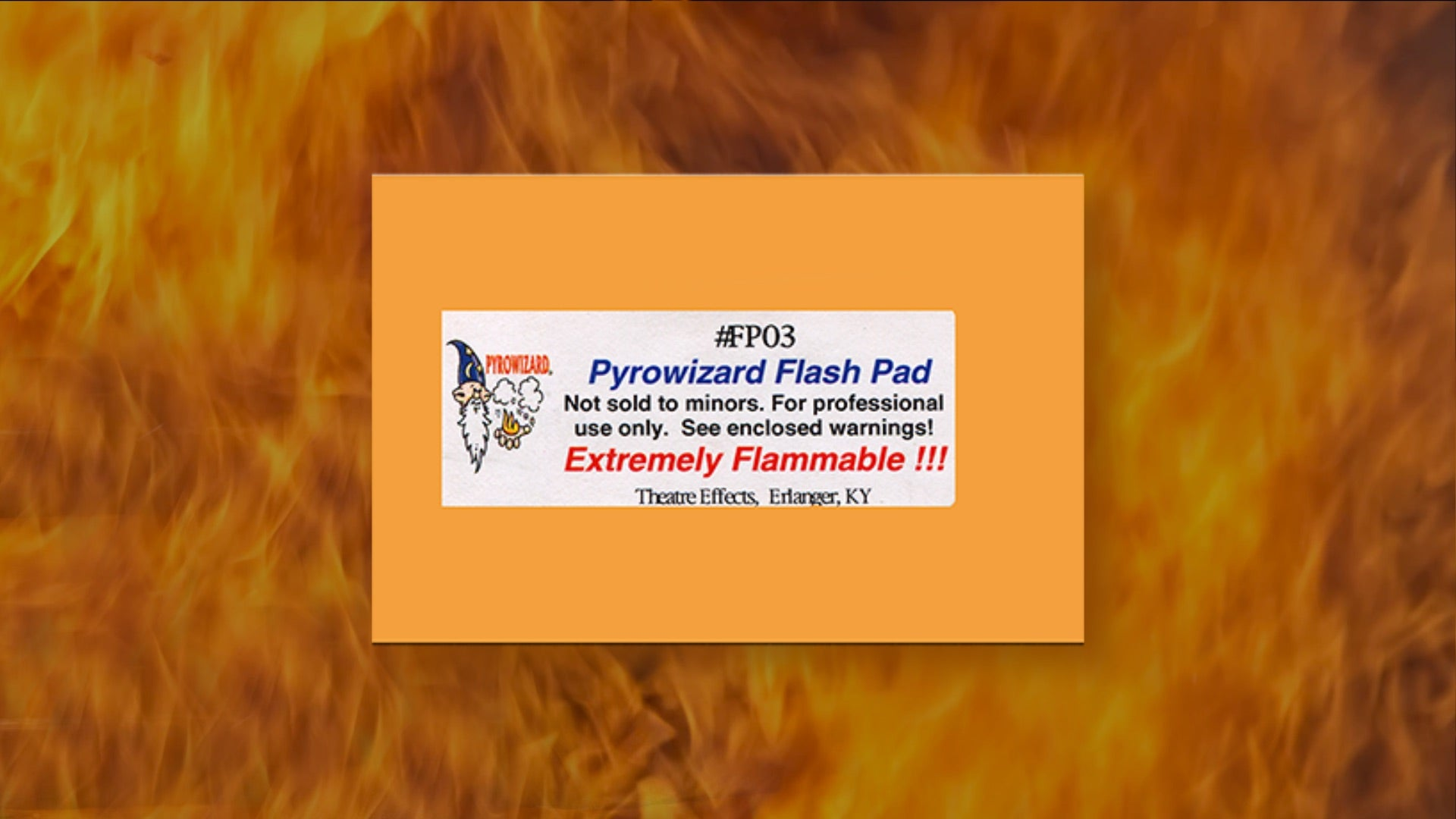 Package of Flash Paper with flame background