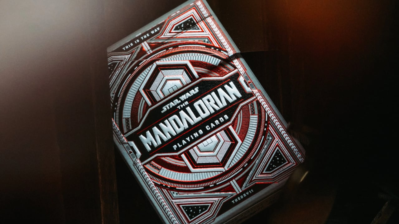 Front of Mandalorian playing cards box. Displayed on an angle.