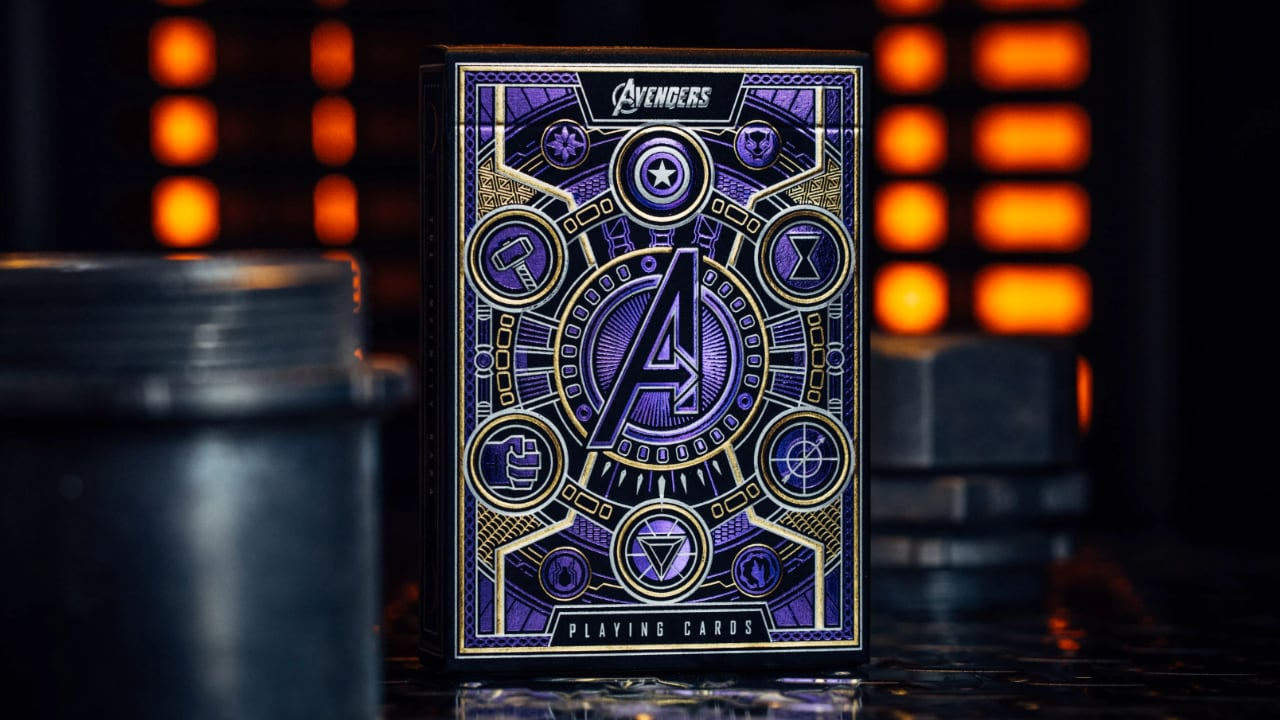 Avengers Playing Cards, front of box. Shows Infinity Stone Symbols around the Avengers A.