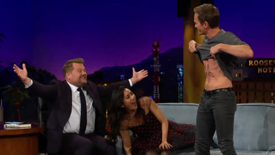 Neil Patrick Harris reveals the chosen card written on his stomach on the James Corden show