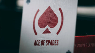 Very closeup of Ace of Spades icon on playing card