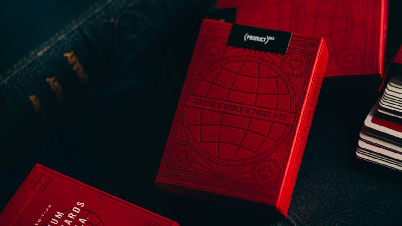 Closeup of Product Red card box. Says Imagine a world without aids. Leaned against another box.