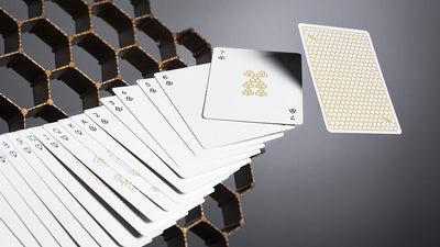 Cards spread out showing the different cards with one back showign at the end.