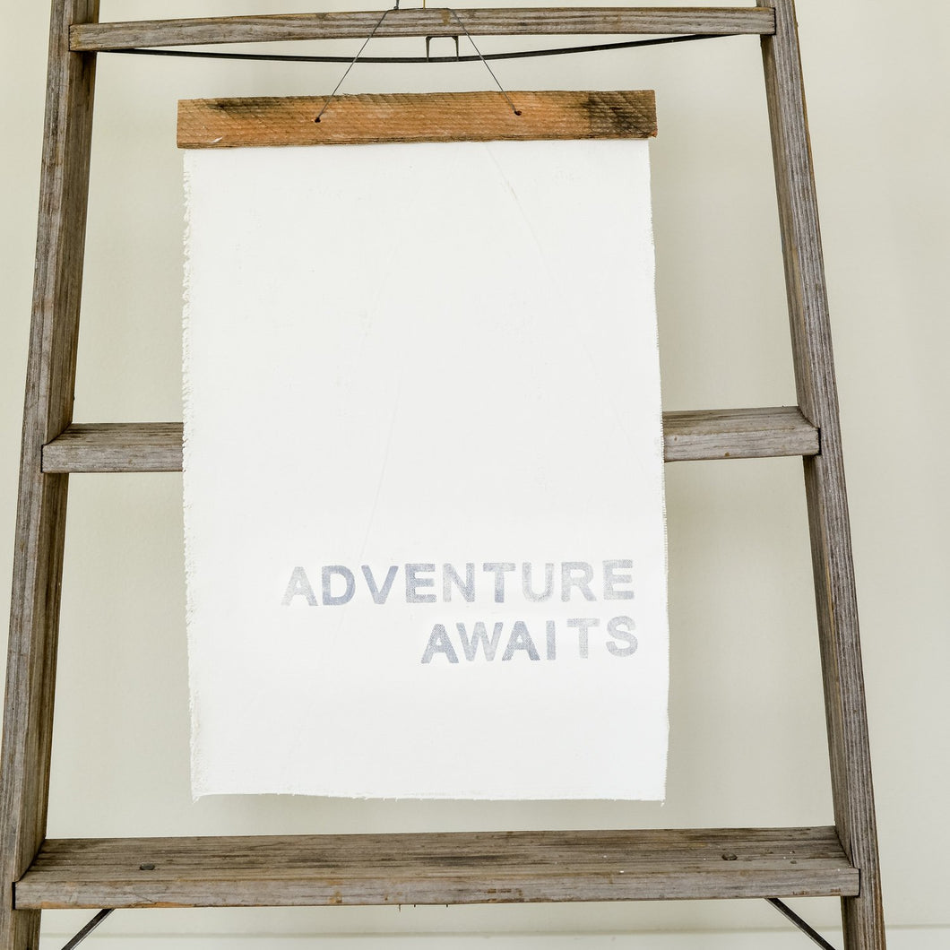 ADVENTURE AWAITS on canvas
